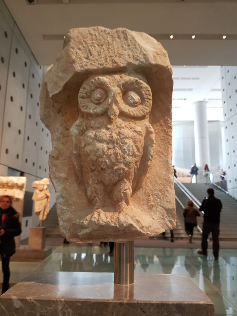 carving of owl in the Acropolis Museum
